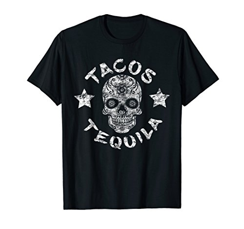 Mens Day Of The Dead Tacos Tequila Sugar Skull Halloween Shirt XL Black ()
