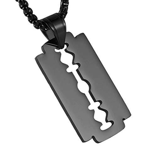 HZMAN Mens Stainless Steel Razor Blade Model Dog Tag Pendant Hip Hop Necklace,22+2