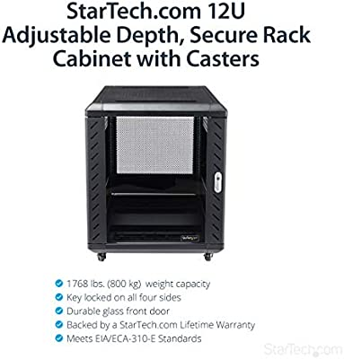 Startech Com 12u Av Rack Cabinet Network Rack With Glass Door 19 Inch Computer Cabinet For Server Room Or Office Rk1236bkf Amazon Sg Electronics