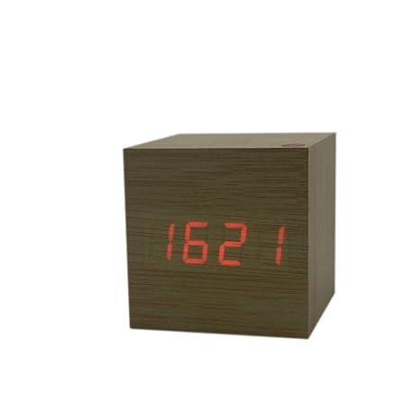 Busirde Pantalla Cuadrada Cubo USB Alarma Escritorio de Madera Reloj Digital Sound Tiempo de Control de