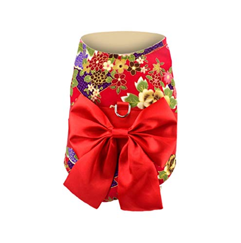 (Pet Sweater,JHKUNO Puppy Japanese Kimono for Girl Floral Pet New Year Party Costume Bowknot Dog)