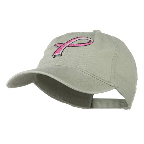 Breast Cancer Logo - E4hats Hot Pink Breast Cancer Logo Embroidered Washed Cap - Stone OSFM