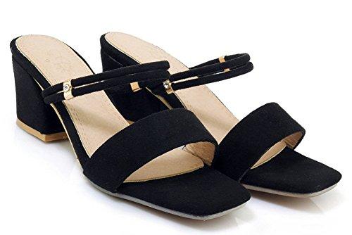 Fermeture Mules Femme Enfiler Sandales Bout Easemax Simple à Noir Ouvert BTnO8ESqE