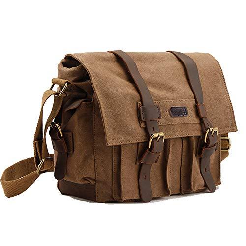 (Kattee Men's Canvas Cow Leather DSLR SLR Vintage Camera Shoulder Messenger Bag Khaki )