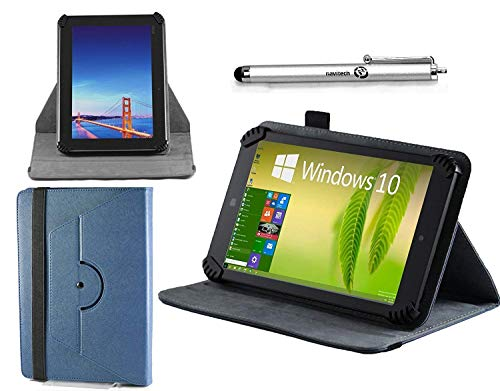 """Navitech Blue Leather Case Cover with 360 Rotational Stand and Atlas Stylus Compatible with The 10"""" Windows 10 Fusion5 Ultra Slim Windows Tablet PC"""