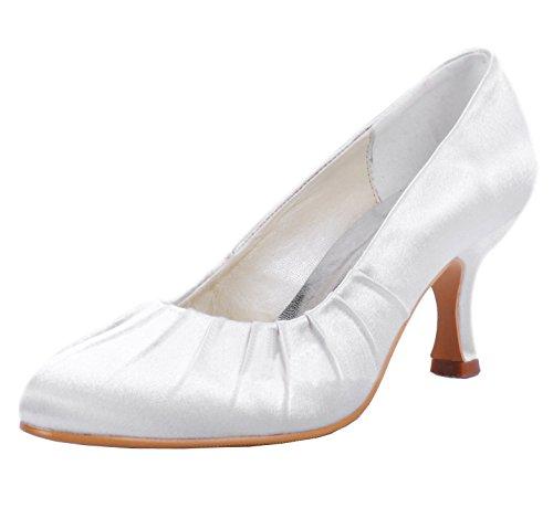 Minishion MZ605 Womens Pointy Toe Med Heel Bridal Wedding Evening Satin Pump Shoes Ivory-6.5cm Heel iUPwgc8C