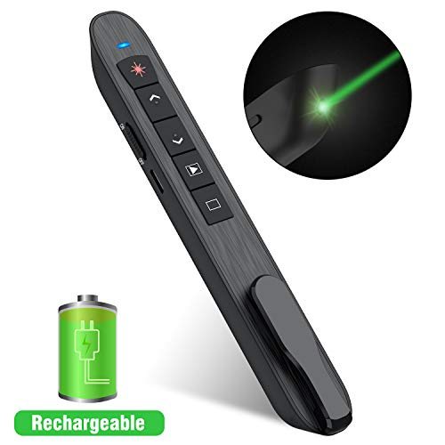 DinoFire Wireless Presenter Remote with Green Light, Rechargeable PowerPoint Clicker,RF 2.4GHz Presentation Pointer Slide Advancer with Hyperlink Volume Control