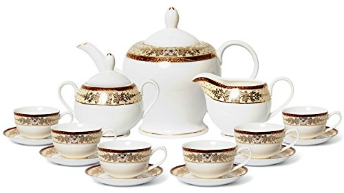 - Euro Porcelain 17-pc. Vintage 'Golden Leaves' Tea Cup Coffee Set with 24K Gold-Plated Ornament, Premium Bone China Service for 6
