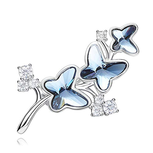 ANAZOZ Gold Plated Fashion Jewelry Brooches for Women Blue Austrian Crystal Butterfly Leaf Anniversary Birthday