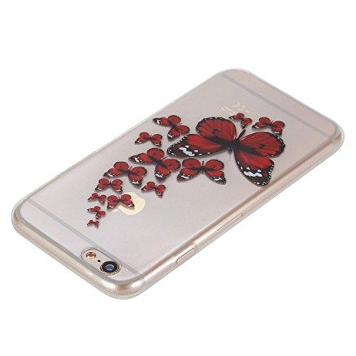 Für Apple iPhone 6 Plus / iPhone 6S Plus (5.5 Zoll) Hülle ZeWoo® TPU Schutzhülle Silikon Tasche Case Cover - HX008 / Schmetterling