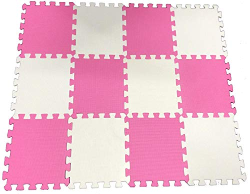 Pink-White 20pc Children's Kids Playmat Baby Crawling Puzzle Mat Soft EVA Foam Playroom Flooring Tile Girls Room Foam…