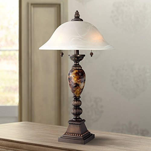 - Kathy Ireland Alabaster Glass Mulholland 2-Light Table Lamp