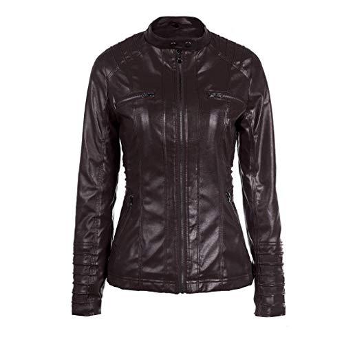 Veste Biker Matelassées Femme Manteau Tops Hooded Café Slim Esprit Cuir  Revers Meibax Femmes Amovibles Jacket ... 22be78034dd