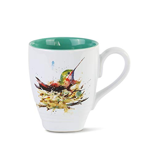 Dean Crouser Hummingbird In Nest Watercolor Blue 12 ounce Glossy Ceramic Stoneware Mug
