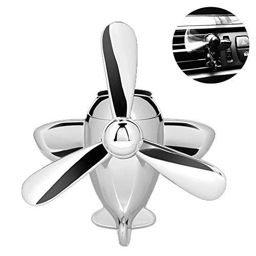 (9thsound Car Decoration Fragrance Diffuser Helicopter Style with Vent Clip Car Air Freshener (Silver))