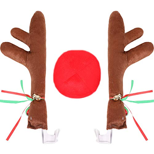 LINGJUN Christmas Car Antlers Reindeer Nose for Car Decoration with Jingle -