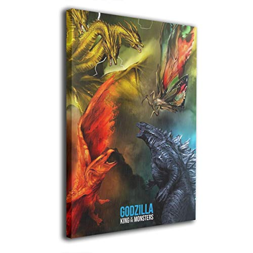 Little Monster Godzilla 2 King of The Monsters 2019 Framed Painting On Canvas Decorations Modern Artwork Art for Kids Bedroom 24x36in -