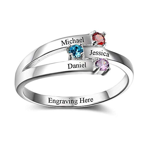 Lam Hub Fong Personalized Mother Rings with 3 Simulated Birthstones for Mom Customized Family Rings Anniversary Rings Name Rings for BFF (9) ()