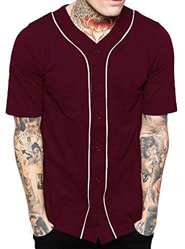 Hat and Beyond Mens Baseball Button Down Jersey Hipster Hip Hop T Shirts 1UPA01 02 (Medium, Burgundy/White)