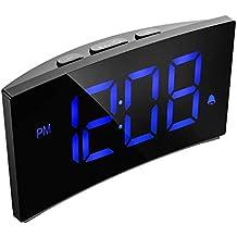 "PICTEK Digital Alarm Clock, 5"" Curved Dimmable LED Screen Digital Clock for Kids Bedroom, Blue Large Number Clock, 6 Brightness, Snooze, 12/24 Hour, USB Port, Battery Backup (Without Adapter)"