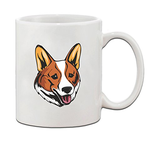 Welsh Corgi Cardigan Head Ceramic Coffee Tea Mug Cup 11 Oz - Holiday Christmas Hanukkah Gift for Men & (Welsh Corgi Head)
