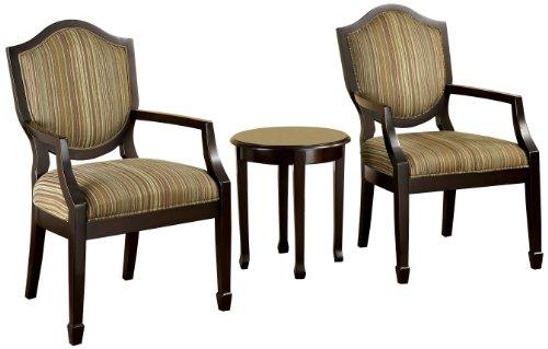 Furniture of America Oasis 3-Piece Armchair & Table Set, Espresso