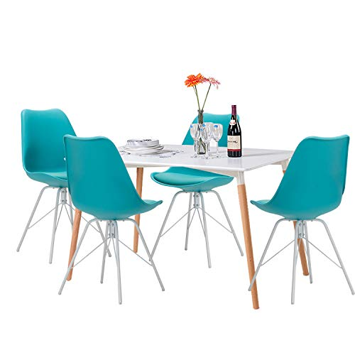 YUIKY Modern Dining Chairs Set of 4 with PU Leather Upholstered Side Chairs (Blue)
