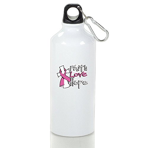 NO2XG Faith Love Hope Breast Cancer Awareness Insulation Cup,Rustless Steel Space Cup,Convience Outside Tour Water Bottle by NO2XG