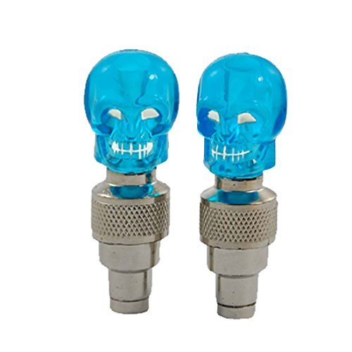 Water & Wood 2 Pcs Auto Flywheel Flash Valve Sealing Cap Blue LED Light Car Tire Lamp with Car Cleaning Cloth