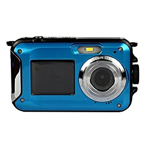 DeXop Waterproof Digital Camera With Small Size 2.7 Inch Double Screens Camera-Blue