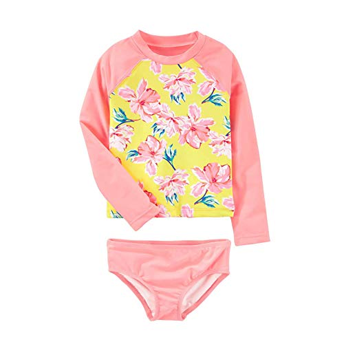 Toddler Baby Girls Long Sleeve Two Piece Bathing Suit for Kids 2Pcs Rash Guard Swimsuit Set with UPF 50+ Sun Protection