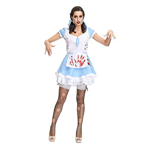 YIBEN Halloween Adult Alice Horror Bloody Zombie Costume, Cos Bar Stage Costume, Devil Maid Wear ()