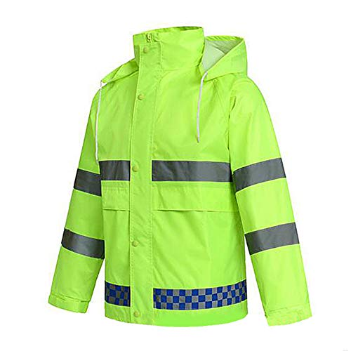 Yxsd Fluorescent Green Crystal Lattice Split Raincoat Set Wholesale Reflective Traffic Duty Electric Car Raincoat Poncho (Color : Fluorescent Green, Size : XXL175) ()