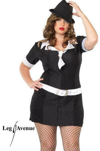 Gangster Moll Plus Costumes (Leg Avenue Women's Gangster Moll Plus Size Dress, Black, 1x/2x)