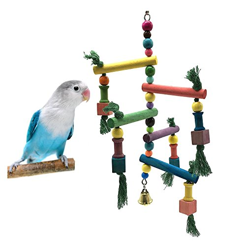 Borange Bird Toys Parrot Perch Chewing Toy Cockatial Colorful Wooden Stand Swing Hanging Bridge Climb for Small Birds Cockatiel Parakeet Budgie Conure Lory Cage (Hanging Parakeets)