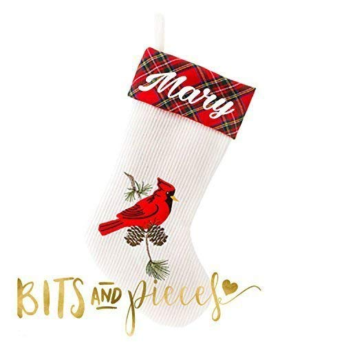 (Personalized Christmas Stocking | Cardinal Stocking with Plaid Cuff | Snowman | Reindeer | Elf | Gingerbread Man | Santa |)