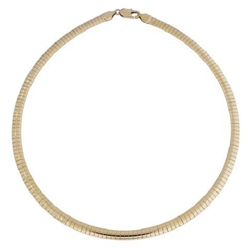 Amythyst Women's 5mm Rose Gold Tone Stainless Steel Omega Necklace (20 Inches)