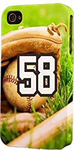 Baseball Sports Fan Player Number 58 Plastic Snap On Flexible Decorative Apple iPhone 4/4s Case