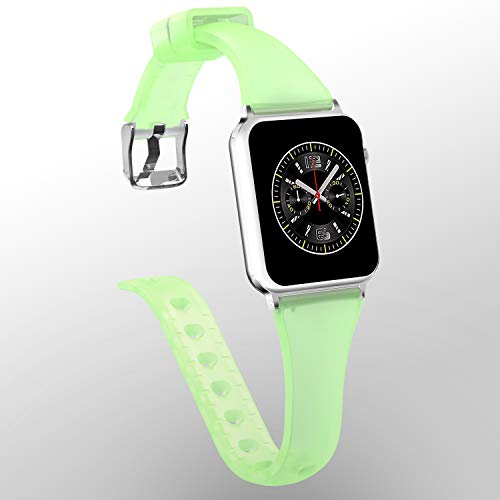 Lwsengme Band Compatible with Apple Watch 4/3/2/1, Clear Silicone Choose Color Classic Slim Bracelet iWatch Strap Compatible with Apple Watch 38mm,40mm,42mm,44mm,Sport/Edition
