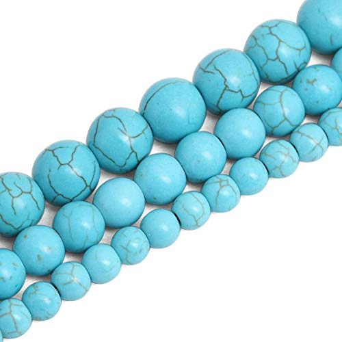 - 8mm Round Blue Turquoise Beads Loose Gemstone Beads for Jewelry Making Strand 15 Inch (47-50pcs)