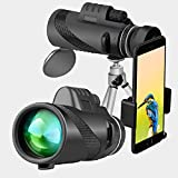 Monocular Telescope,Binrrio 40x60 High Power BAK4 Prism Waterproof Scope with Smartphone Holder and Tripod for Travel,Bird-Watching,Concert,Sports,Outdoors Hiking Hunting,Camping