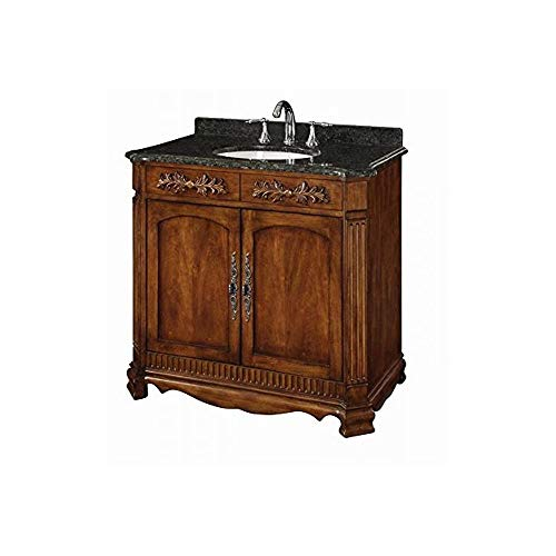 Davidson Woodcrafters LW093S03 Savannah 36 inch Walnut Traditional Vanity with Dark Green/Black Marble Top, Single China Bowl, 2-Doors, Antique Brass Hardware (36W x 34H x 21D), Brown
