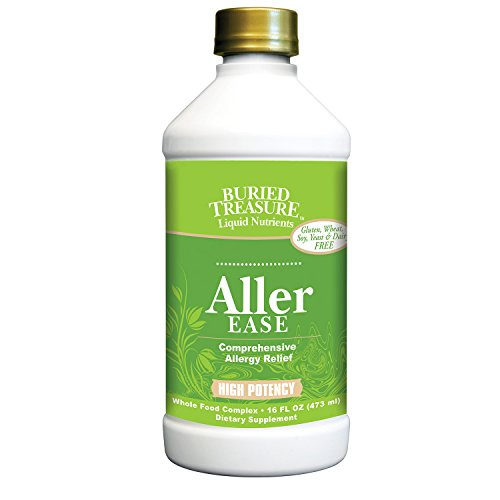 Ease Supplement - Buried Treasure Aller-Ease Herbal Allergy Relief High Potency Liquid Formula with Vitamins, Minerals and Herbal Blend of Bayberry Eyebright Mullen MSM Zinc 16 oz
