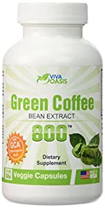 Viva Oasis Pure Green Coffee Bean Extract 800mg *60 count* with 50% GCA Chlorogenic Acid. A Weight Loss Appetite Control Extract Supplement Diet Pill Backed up By Clinical Results. Diet Pills