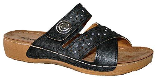 Sandalias de mujer Gezer, ligeras, suaves, cómodas black button