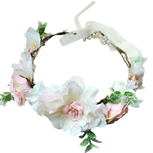 Vivivalue Boho Handmade Flower Wreath Headband Crown Halo Floral Hair Garland Headpiece with Ribbon Festival Wedding Pink ()