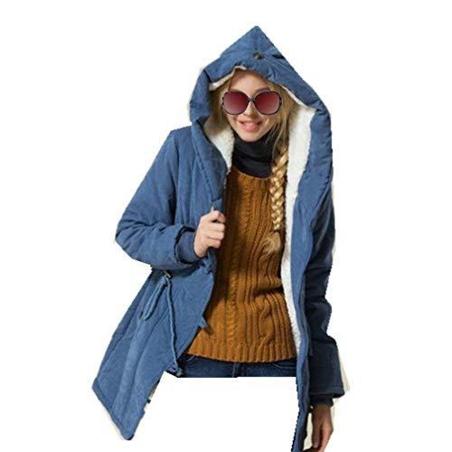 Saoye Fashion Manteau d'hiver en Coton d'hiver pour Femme avec Vtements Col en Fourrure Veste  Capuche Veste D'Extrieur Manteau d'hiver Manteau Chaud Blau