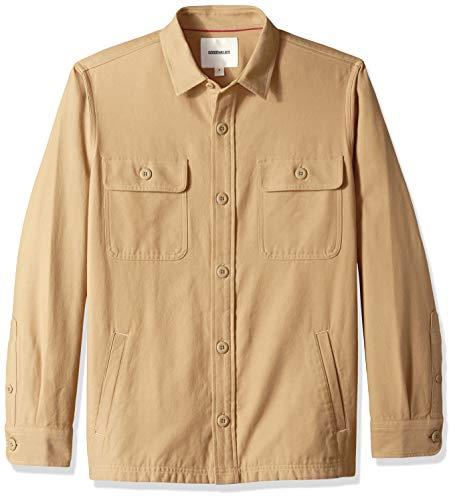 Goodthreads Men's Military Broken Twill Shirt Jacket, -khaki, ()