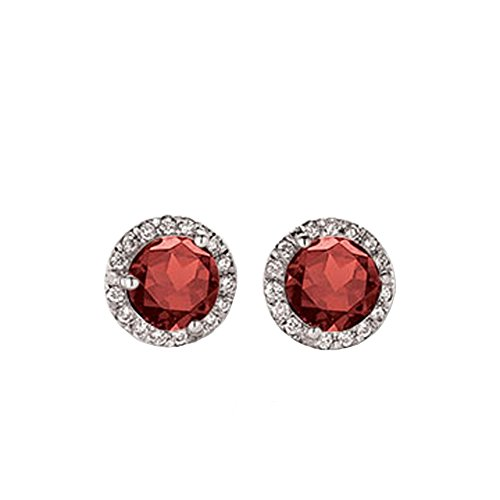 0.50 Carat (ctw) 14K White Gold Round Red Garnet & White Diamond Ladies Halo Style Stud Earrings 1/2 CT