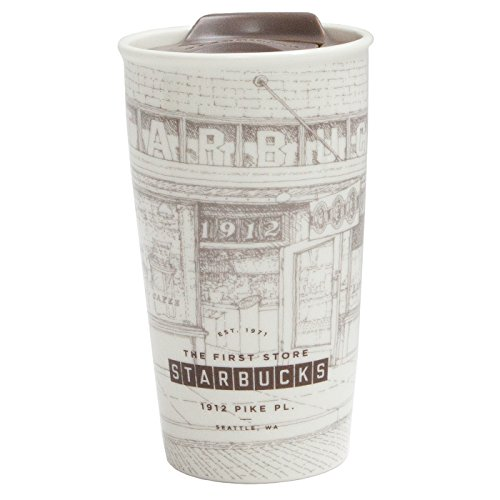 Starbucks Coffee Pike Place Sketch Double Wall Ceramic Travel Mug, 12 oz